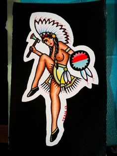 Tattoo old school indian pin up Ideas for 2019 Pin Up Tattoos, Trendy Tattoos, Leg Tattoos, Tatoos, Indian Girl Tattoos, American Indian Tattoos, Hot Girls, Pin Up Girls, Tattoo Girls