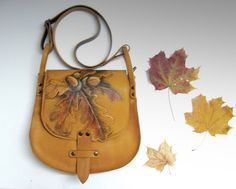 Leather Bag oak leaves painted leather handbag unique purse hand-painted yellow leaf bag crossbody bag leather satchel  briefcase women