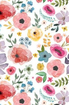 64 Ideas For Flowers Illustration Pattern Draw Floral Prints Watercolor Wallpaper, Flower Wallpaper, Pattern Wallpaper, Watercolor Flowers, Drawing Flowers, Fabric Wallpaper, Painting Flowers, Floral Watercolor Background, Green Wallpaper