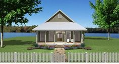 This small house has a big heart. Two nice sized bedrooms with walk-in closets. Two full baths, one private and one for family and guests. Two covered p. Cottage Style House Plans, Cottage Style Homes, Country House Plans, Cottage Design, Small House Plans, House Design, Guest Cottage Plans, The Plan, How To Plan