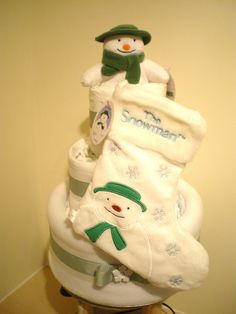 Three tier deluxe nappy cake featuring The Snowman.