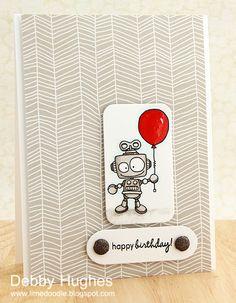 limedoodle, Birdie Brown digital stamp, birthday card, robot, balloon, children's