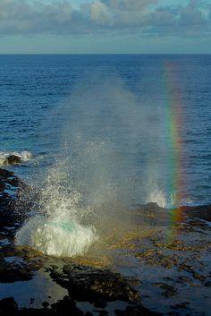 Kauai blowhole and rainbow