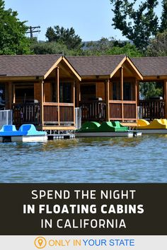 Spend the night in a floating cabin on beautiful Santee Lakes in Southern California. These charming cabins have all the amenities you need and some amazing views. Great for family fun, you can swim, paddle boat, and go fishing in the summer. California Travel, Southern California, Santee Lakes, Best Bucket List, Famous Beaches, Paddle Boat, Stay Overnight, Hidden Beach, Local Attractions