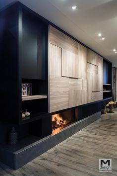 Photos de foyers à bois & cheminées décoratives design Wall Cabinets Living Room, Condo Living Room, House Rooms, Home Room Design, Home Office Design, Living Room Designs, House Design, Modern Fireplace, Fireplace Design