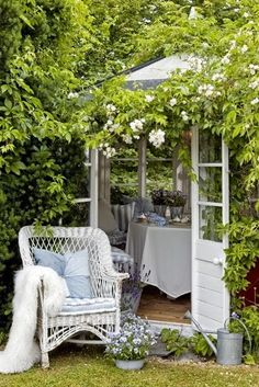 White accents in garden shed