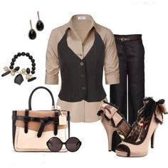Work dress for ladies with sunglasses, bag and high heels