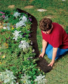 recycled rubber border keeps grass and weeds from encroaching and lets you mow right along so there's no need to trim Supply