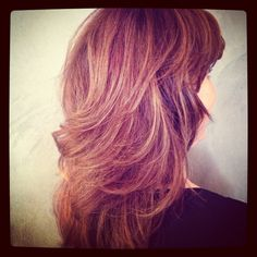 Thick, colored, highlighted hair styled out with curl and shine... Kellie Little Groove Elliptic Hairbrush