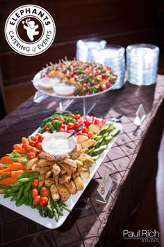 Vegetable Crudite with Roasted Garlic Ranch  Also shown - Fruit Skewers with Poppyseed Dressing