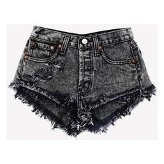 Keepers Black Acid Cut Off Cheeky Shorts ❤ liked on Polyvore featuring shorts, denim shorts, high-waisted cut-off shorts, ripped jean shorts, high rise jean shorts and distressed jean shorts