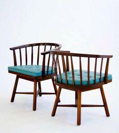 Walnut 'Janus' Swivel Chairs for Dunbar, Chair Design, Furniture Design, Edward Wormley, Janus, Mid Century Chair, Antique Chairs, Swivel Chair, Modern Chairs, Outdoor Furniture