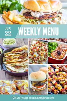 Weekly Menu for the Week of June 22nd Weekly Menu, Breakfast For Dinner, Best Breakfast, Family Recipes, Family Meals, Easy Weeknight Dinners, Easy Meals, Buffalo Chicken Burgers, Grilled Teriyaki Chicken