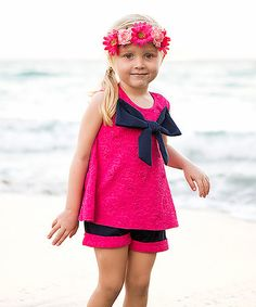 Loving this Pink & Navy Bow Swing Tunic & Shorts - Toddler & Girls on #zulily! #zulilyfinds