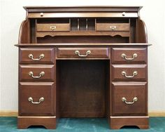 "Solid Cherry 48"" Double Pedestal Executive Desk – OfficeDesk.com"