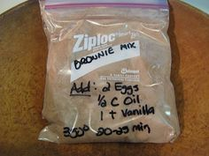 These are a new hit at our house. Never buying a box again.  So simple, so easy!!!   Brownie Mix  $0.30 /mix.  1 Cup Sugar, 1/2 Cup Flour, 1/3 Cup Cocoa, 1/4 tsp Salt, 1/4 tsp Baking Powder.  Add:  2 Eggs, 1/2 Cup Vegetable Oil, 1 teaspoon Vanilla.  Bake @ 350 degrees for 20-25 minutes.