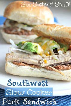 Southwest Slow Cooker Pork Sandwich from sixsistersstuff.com