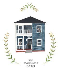 Custom Illustrated house portrait. Rebekka Seale via Etsy.