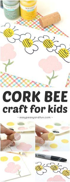 Simple Bee Art Idea - Stamping with Corks #Corkcraftforkids #Springcrafts #beecrafts #toddlerart