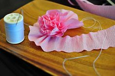 Crepe paper or fabric flowers