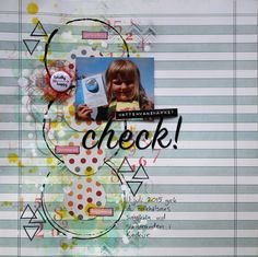 Scrapbook page with mixed media touches. Acrylic ink, paints, mists and stamping