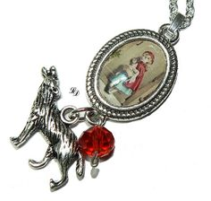 Necklace Red Riding Hood and the wolf gothic a by LissieDesign