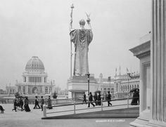 Strolling past the Statue of the Republic, Columbian Exposition, 1893, Chicago