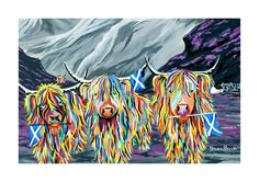 Mini McCoo Collection - William, Rabbie & Wallace McCoo A3 Print or Framed - Steven Brown Art -