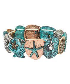 Look at this #zulilyfind! Patina & Tri-Tone Star Stretch Bracelet by Mica #zulilyfinds