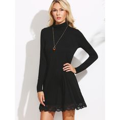 SheIn(sheinside) Black Cowl Neck Lace Trim Shift Dress ($13) ❤ liked on Polyvore featuring dresses, black, long sleeve t shirt dress, long sleeve short dress, long-sleeve shift dresses, t-shirt dresses and long-sleeve maxi dress