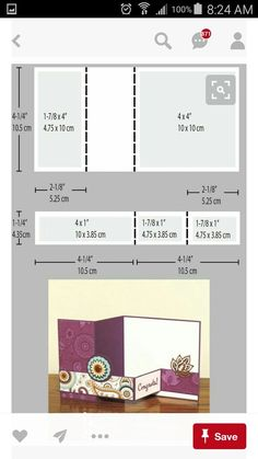 Diagram showing the dimensions to create a square shaped double Z folded card. Card design by Natalie Lapakko. Diagram showing the dimensions to create a square shaped double Z folded card. Card design by Natalie Lapakko. Step Cards, Z Cards, Easel Cards, Card Making Templates, Card Making Tips, Card Making Tutorials, Card Making Techniques, Tri Fold Cards, Fancy Fold Cards