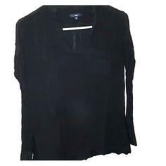 GAP black blouse Cute black blouse. Ruffled collar. Pocket. GAP Tops Blouses