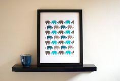 Herd of Elephants Print