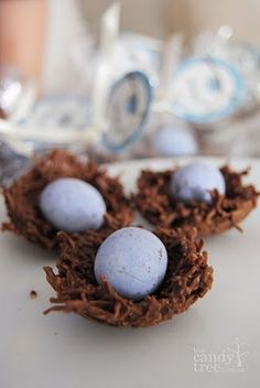 Chocolate coconut nests with cocolate bird eggs....how cute is this for Easter?
