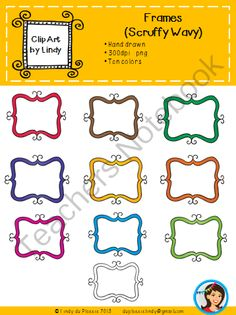 FREE Frames (Scruffy Wavy) from Lindy du Plessis on TeachersNotebook.com -  (10 pages)  - Here are ten hand-drawn scruffy frames ready to brighten your TPT and classroom products.  Perfect for flash cards or product covers.  Just layer your text over it and you are good to go!