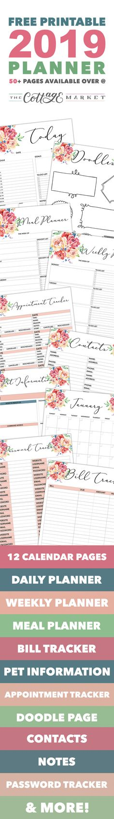 Free Printable 2019 Planner 50 Plus Printable Pages! - The Cottage Market - - Come on in and snatch up your Free Printable 2018 Planner 50 Plus Printable Pages! You will find everything you need to get organized for the new year! 2018 Planner, Free Planner, Happy Planner, Planner Tips, Bill Planner, Student Planner, Free Printable Planner Stickers, Free Printables, Freebies Printable