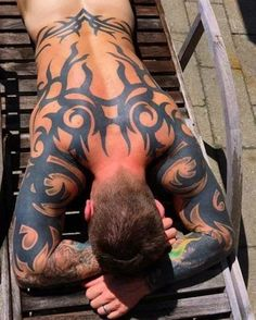 Tribal tattoo on half body Back Tattoos, Hot Tattoos, Body Art Tattoos, Tribal Tattoos, Tattoos For Guys, Tatoos, Male Tattoo, Tattoo Guys, Badass Tattoos