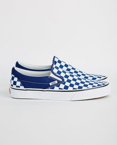 Dark Blue and White Checkers Vans Slip On Shoes, Vans Sneakers, Top Shoes, Pretty Shoes, Cute Shoes, Me Too Shoes, Vans Shoes Fashion, Cute Vans, Vans Checkerboard