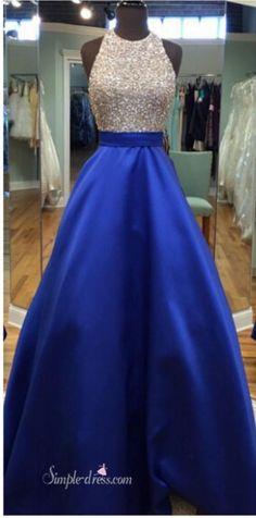 2016 long prom dresses, royal blue prom dresses, beaded prom dresses