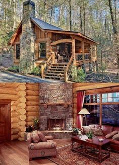 Amazing Ideas to make your ideal log cabin in the mountains or next to a lake. A peaceful environment to get away from our crazy life. Tiny Cabins, Tiny House Cabin, Cabins And Cottages, Log Cabins, Cabin Style Homes, Log Cabin Homes, Log Home Living, Little Cabin, Forest House