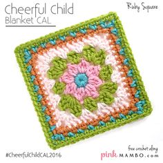 """Ruby 6"""" Square - free crochet pattern at Pink Mambo. Cheerful Child CAL #6"""