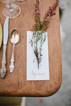 herb place setting, photo by Megan Welker Photography http://ruffledblog.com/garden-romance-wedding-inspiration #weddingideas #receptions #placesetting