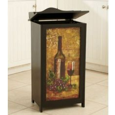 New Wooden Kitchen Trash Bins Containers Cans Apple Rooster Wine Vineyard | eBay #trash #bins #containers #cans #trashbin #container #trashcan  #wine #vineyard
