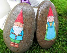 DIY gnome people from rocks and a simple gnome garden for sensory and imaginative play!