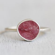 Pink Tourmaline Raw Gemstone Ring in Sterling by apostrophie, $105.00