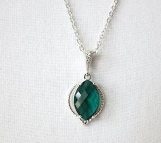 Emerald glass drop necklace
