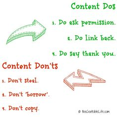 Content Dos and Don'ts - great information and resources about protecting your work via @Kelly Whalen