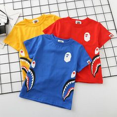 2019 Bape Baby Milo Kids Boy Busy Works Short Sleeve T-shirt Tops Summer Tee