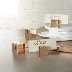 set of 4 copper place card holders | CB2