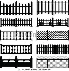 picket fence styles | set of fences and wall brick design.